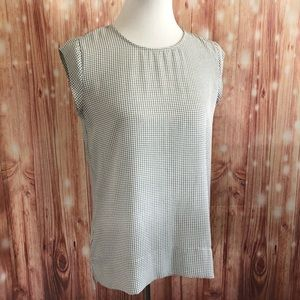 The Limited White Grid Print Short Sleeve Blouse